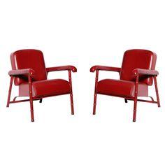 Jacques Adnet, fauteuils cuir et bronze, 1955