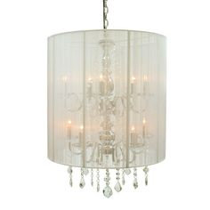 Rovello Silver 10 Light Crystal Pendant with White Shade