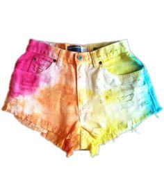 Vintage, cut off,  jeans,  shredded,  damaged,  fray,  grunge, omen eye, short, shorts, rainbow, colorful, bright, neon, $49.99