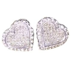 Pre-owned 14kt White Gold Diamond Heart Earrings ($625) ❤ liked on Polyvore featuring jewelry, earrings, accessories, none, diamond earring jewelry, white gold diamond jewelry, heart shaped diamond earrings, heart jewelry and heart earrings