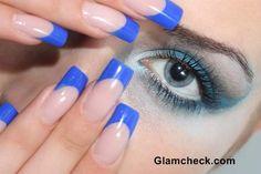 Blue nail art French Manicure