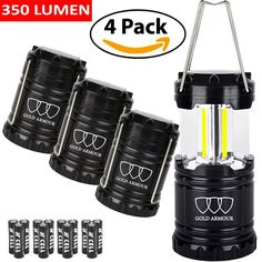 Amazon.com : Brightest Camping Lantern - LED Lantern (EMITS 350 LUMENS!) - Camping Equipment Gear Lights for Hiking, Emergencies, Hurricanes, Outages, Storms (Black, 4 Pack) $22.99