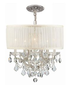 Crystorama Brentwood Six-Light Elements Crystal Chrome Drum Shade Chandelier by Swarovski at Horchow.