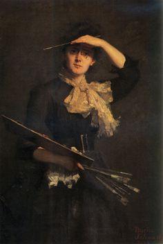 Self-Portrait (1888).Thérèse Schwartze (Dutch, 1852-1918).Oil on canvas.Galleria degli Uffizi, Florence.