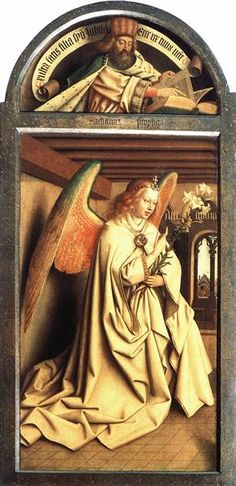 Angel Annunciate, from exterior of left panel of the Ghent Altarpiece, 1432 - Jan van Eyck Chef D Oeuvre, Oeuvre D'art, Jan Van Eyck Paintings, Ghent Altarpiece, Renaissance Kunst, Religious Paintings, Medieval Art, Triptych, Ancient Art
