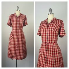 50s Plaid Cotton Dress / 1950s Vintage Button Day Dress / XL / Size 18