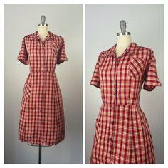 50s Plaid Cotton Dress / 1950s Vintage Button Day Dress / XL / Size 18