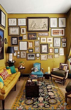 Mustard Feature Wall, Image Source pinterest.com