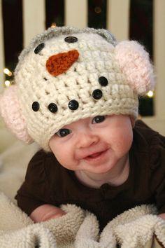 Snowman+Crochet+Hat+by+ScrapmadeCreations+on+Etsy,+$29.50