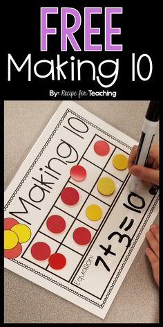 FREE Making 10 mat! Great practice for showing combinations for math Making 10 Kindergarten Math Activities, Montessori Math, Preschool Math, Math Classroom, Ks1 Maths, Numbers Kindergarten, Classroom Ideas, Math For Kids, Fun Math