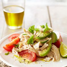 Stack roma tomatoes, avocado slices, and deli-roasted chicken together for a fresh and filling twist on caprese salad. Simple, fresh flavors from basil leaves and olive oil combine beautifully; a squeeze of lime finishes the dish on a citrusy note.