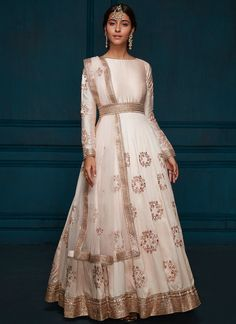 Light Pink Embroidered Dhupioni Silk Anarkali features a dhupioni silk kameez with santoon inner, santoon bottom and net dupatta. Desi Wedding Dresses, Indian Wedding Outfits, Event Dresses, Indian Outfits, Lace Anarkali, Anarkali Suits, Lehenga, Traditional Fashion, Traditional Outfits