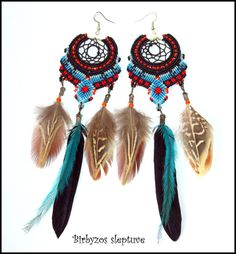 MACRAME EARRINGS IN DREAM CATCHERS AND AMERICAN INDIAN THEME :)