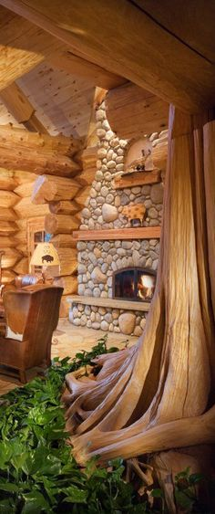 Nature inspired log home by Pioneer Log Homes
