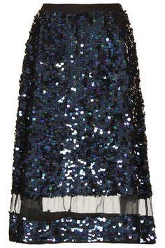 Sequin Organza Midi Skirt