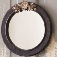 Wooden Mirror With Metal Flowers