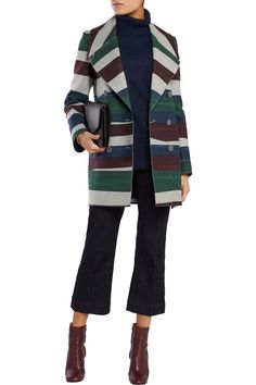 Shop on-sale Carven Striped wool-blend felt coat. Browse other discount designer Coats & more on The Most Fashionable Fashion Outlet, THE OUTNET.COM