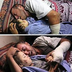 repost via @instarepost20 from @free.palestine.1948 a palestinian man from Gaza lost His pregnant wife and 30 months-old Daughter his home was bombed last night by israel war plane .. In the picture, Yahia hassan says Goodbye to his 30 Months old daughter..