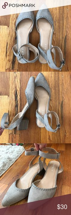 Ankle strap kitten flats Grey suede ankle strap flats. Worn a few times, super cute with jeans! Just sitting in my closet. Esprit Shoes Flats & Loafers