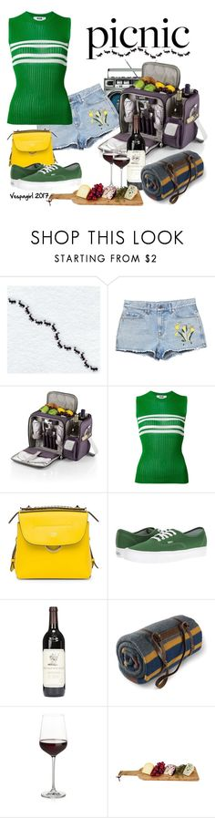 """""""Wine and cheese please"""" by vespagirl ❤ liked on Polyvore featuring Gucci, Picnic Time, MSGM, Fendi, Vans, Pendleton, Crate and Barrel and picnic"""