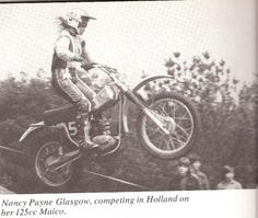 Nancy Payne back in the 60s competing in Holland on her dirtbike