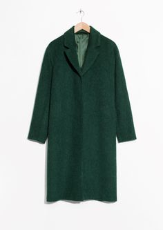 & Other Stories | Wool & Mohair Blend Long Coat in Green