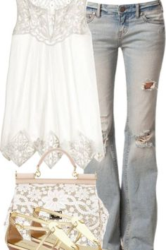 I just LOVE the soft look of the jeans and top! This outfit combo is cute and trendy for me that fits my style! Komplette Outfits, Spring Outfits, Casual Outfits, Fashion Outfits, Fashionable Outfits, Outfit Summer, Casual Jeans, Casual Summer, Fashion Mode