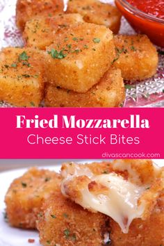 Fried Mozzarella Cheese Stick Bites Crisp, cheesy fried mozzarella bites that are so addictive! Coated in seasoned croutons and panko and so easy to make! Cheese Recipes, Gourmet Recipes, Appetizer Recipes, Snack Recipes, Appetizers, Cooking Recipes, Healthy Recipes, Appetizer Dessert, Cheese Food