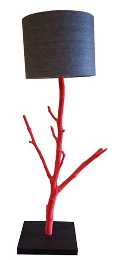Upcycled Tree Lamp in Red by Nic Parnell.  I would love to make something like this <3