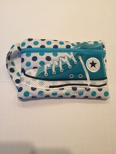 High Top Shoe Zippered Pouch, Turquoise, White and Navy Polka Dot, Bag, Wristlet by JazzyJoDesigns on Etsy