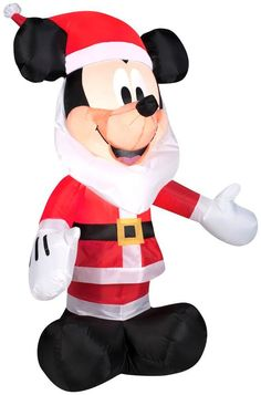 Holiday Yard Decor! Airblown Christmas Santa Mickey Mouse with a Beard 42in Tall #SS