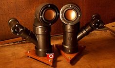 Now THESE are Steampunk. Or steam pipes that can play punk music – something like that. These audio speakers are made from PVC pipes, and each houses a 3 inch […] Steampunk House, Steampunk Diy, Home Speakers, Stereo Speakers, Bluetooth Speakers, Pvc Pipe Projects, Steampunk Gadgets, Geek Gadgets, Speaker Design