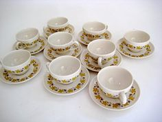 Carefree True China Vintage Set of 10 Cups and 9 by KingOVintage, $28.00
