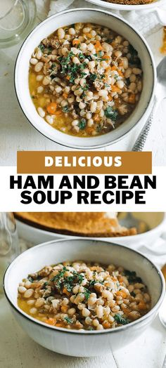 Learn how to make this delicious simple to prepare ham and bean soup using leftover ham. It's loaded with flavor and can be cooked on the cooktop, in an instant pot, or in a crockpot. Don't miss out on this comforting soup recipe. #soup #ham #recipes