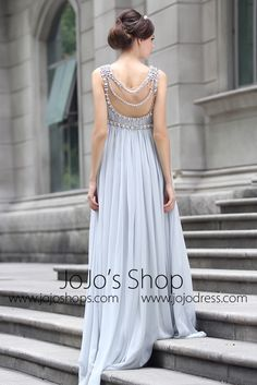 9837162112d Grecian Goddess Empire Waist Gray Formal Prom Evening Dress