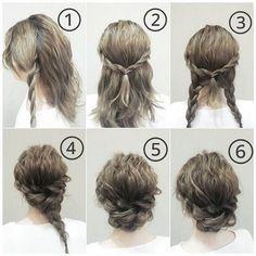 Bước 1: Bắt tóc từ đỉnh đầu đến mang tai rồi chia đôi quấn lại. Làm tương tự cả…