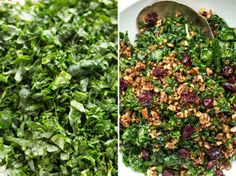 another kale salad  this one w/ pecans and cranberries