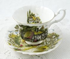 Royal Albert Cottage Scene Tea Cup and Saucer, Vintage Bone China
