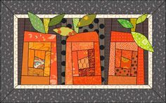 Pumpkin Quilt pattern. One nice thing about EQ7 is trying out different options before deciding on a quilt! Here are 3 EQ versions and a real fabric version of the quilt. Which is your favorite? Either way, you can download the EQ7 project here. by Heidi Kory for The Electric Quilt Company