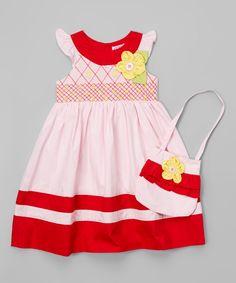 Pink & Red Angel-Sleeve Dress & Purse - Infant Toddler & Girls