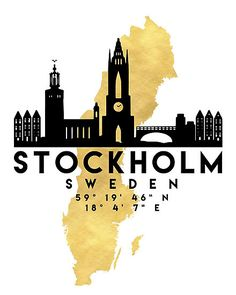 The beautiful silhouette skyline of Stockholm and the great map of Sweden in gold, with the exact coordinates of Stockholm make up this amazing art piece. A great gift for anybody that has love for this city. Contact me: digital@deificusart.com • Also buy this artwork on wall prints, apparel, stickers, and more.