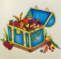 Treasure chest from Enchanted Forest using Prismacolor colored pencils. - Imgur