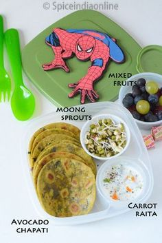 Kids School Lunch Box 12 – Avocado Chapati, Moong Sprouts & Carrot Raita Kids Lunch Box 12 Avocado Chapati with Sprouts and Raita Toddler Lunch Box, Bento Box Lunch For Kids, Kids Lunch For School, Toddler Lunches, Lunch Snacks, Lunch Ideas, Toddler Food, Bento Kids, Kid Lunches