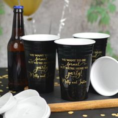 Available in 15 color options, reusable 16 ounce double wall Solo Cup-style party cups personalized with choice of design and up to 4 lines of custom print on the front and back of each cup are perfect for keeping beer and mixed drinks cold during your wedding reception AND they are reusable! After your wedding reception or party, guests can take these thick, insulated, dishwasher-safe cup favors home as souvenirs to use again and again.