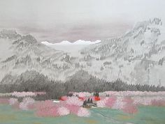 'Kiso in Spring' lithograph by Reiji HIRAMATSU - Japanese Painting Gallery Rose Paintings, Beautiful Paintings, Painting Gallery, Art Gallery, Japanese Mountains, Japanese Art Styles, Berlin, Monet Water Lilies, Spring Painting
