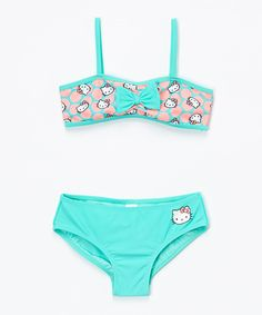 Aqua & Pink Polka Dot Hello Kitty Bikini - Girls