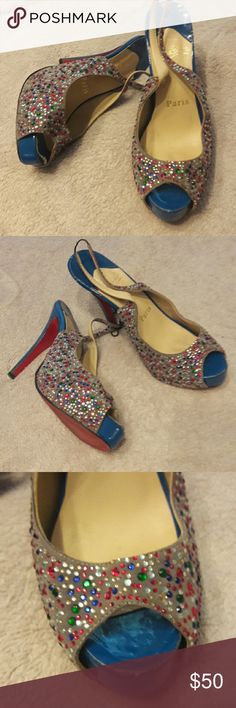 BEAUTIFUL HEELS GOOD USED CONDITION,  MULTI COLORED STONES, PEEP TOE , LITTLE WEAR, COMES WITH BAG Shoes Heels