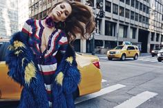 Emily DiDonato wears luxe fur coat pose for Vogue Mexico Magazine January 2016 issue Photoshoot