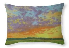 Montana Landscapes Throw Pillow featuring the pastel Sunset Near Miles City by Cris Fulton
