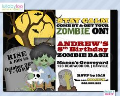 Zombie Birthday Invitations 517 by LullabyLoo on Etsy, $18.00 #zombie #birthday #party #invitations #zombies #zombie apocalypse #Halloween party #kids #boy